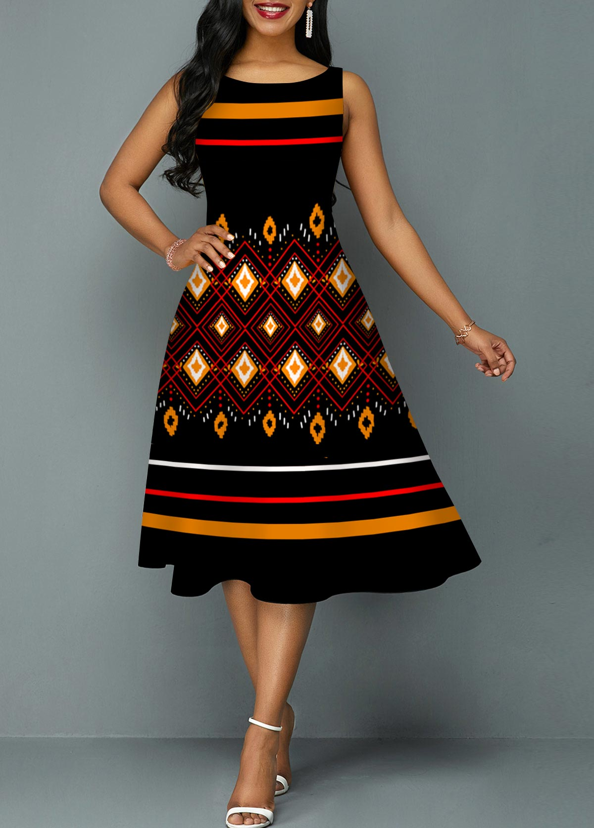 ROTITA Geometric Print Tribal Print Round Neck Sleeveless Dress
