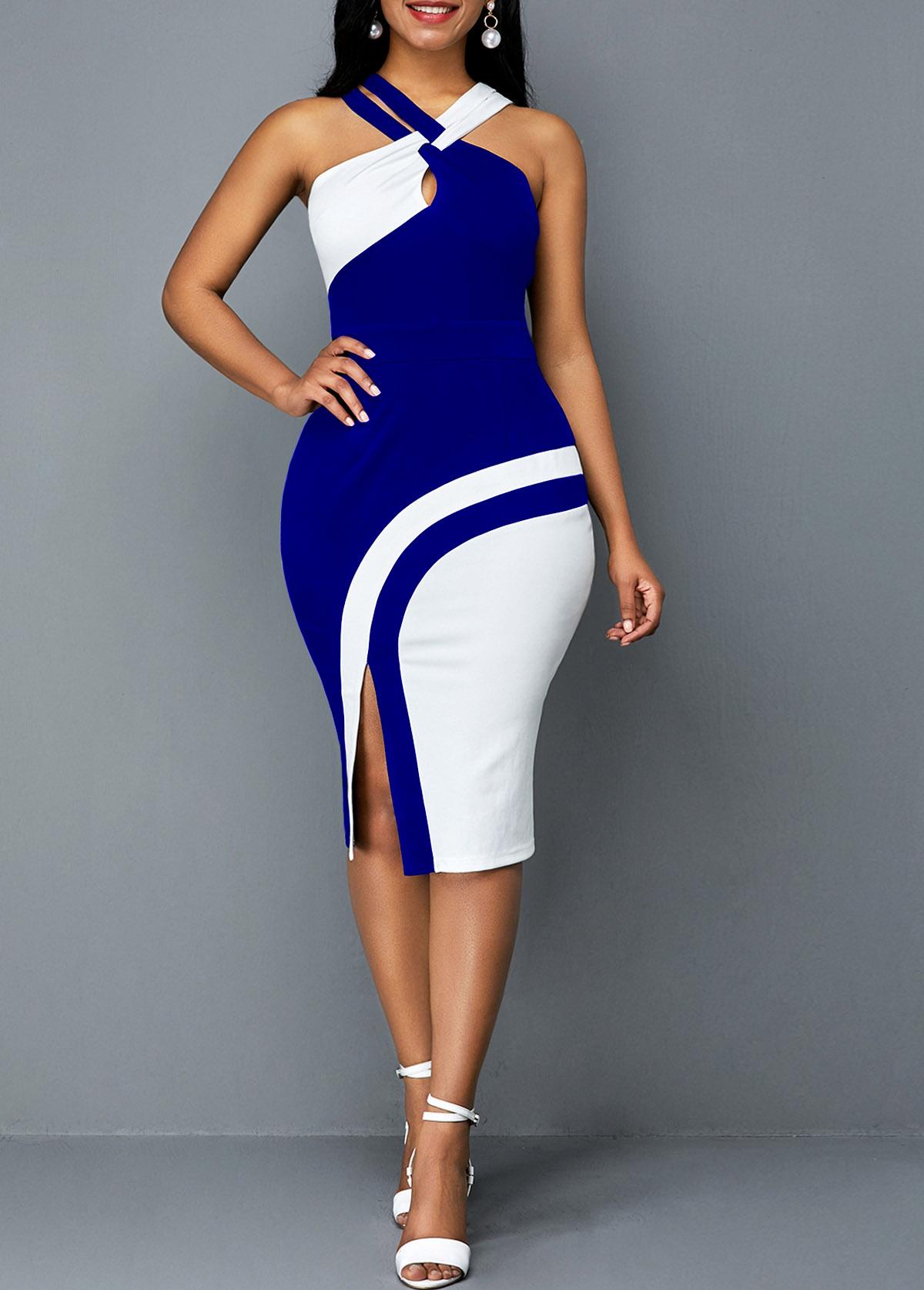 ROTITA Sleeveless Contrast Side Slit Bodycon Dress