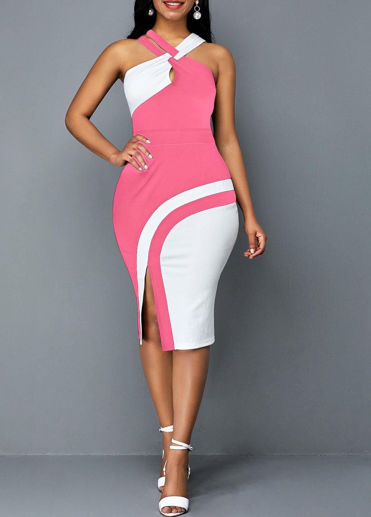 ROTITA Side Slit Contrast Sleeveless Bodycon Dress