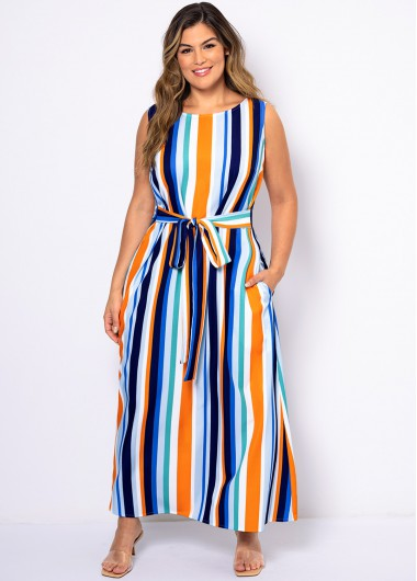 ROTITA Rainbow Stripe Plus Size Double Pocket Dress