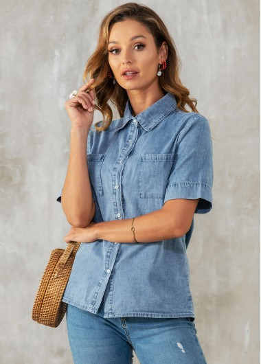 Double Pocket Turndown Collar Short Sleeve Blouse