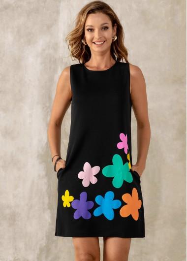 ROTITA Floral Print Sleeveless Double Pocket Dress