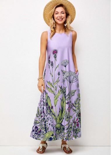 Round Neck Floral Print Double Pocket Dress