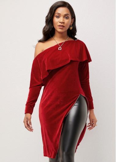 Women's Velvet Skew Neck Flounce Long Sleeve T Shirt