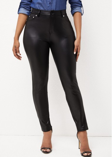ROTITA Solid High Waisted Double Pocket Pants