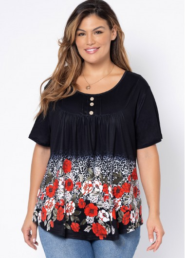 T-Shirts, Polos & Tops Floral Print Plus Size Decorative Button T Shirt