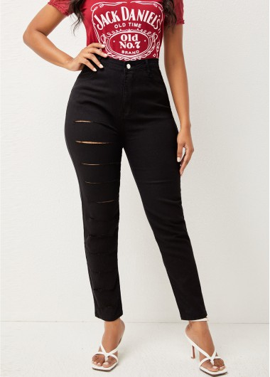 High Waisted Shredded Double Pocket Jeans