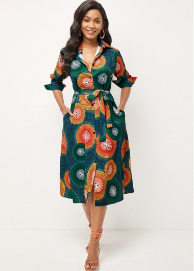 Double Pocket Printed Turndown Collar Dress