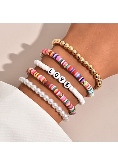 Pearl Polymer Clay Colorful Letter Design Bracelets