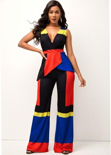 Women's Fashion Contrast Deep V Neck Sleeveless Sweatsuit