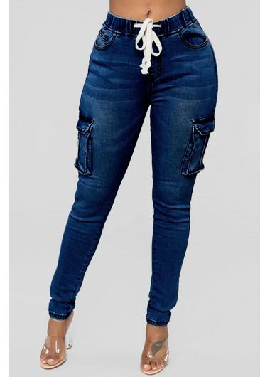 ROTITA Solid Drawstring Waist Double Pocket Jeans