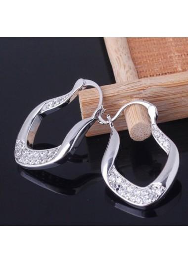 Clothing & Accessories Rhinestone Detail Asymmetric Design Silver Earring Set