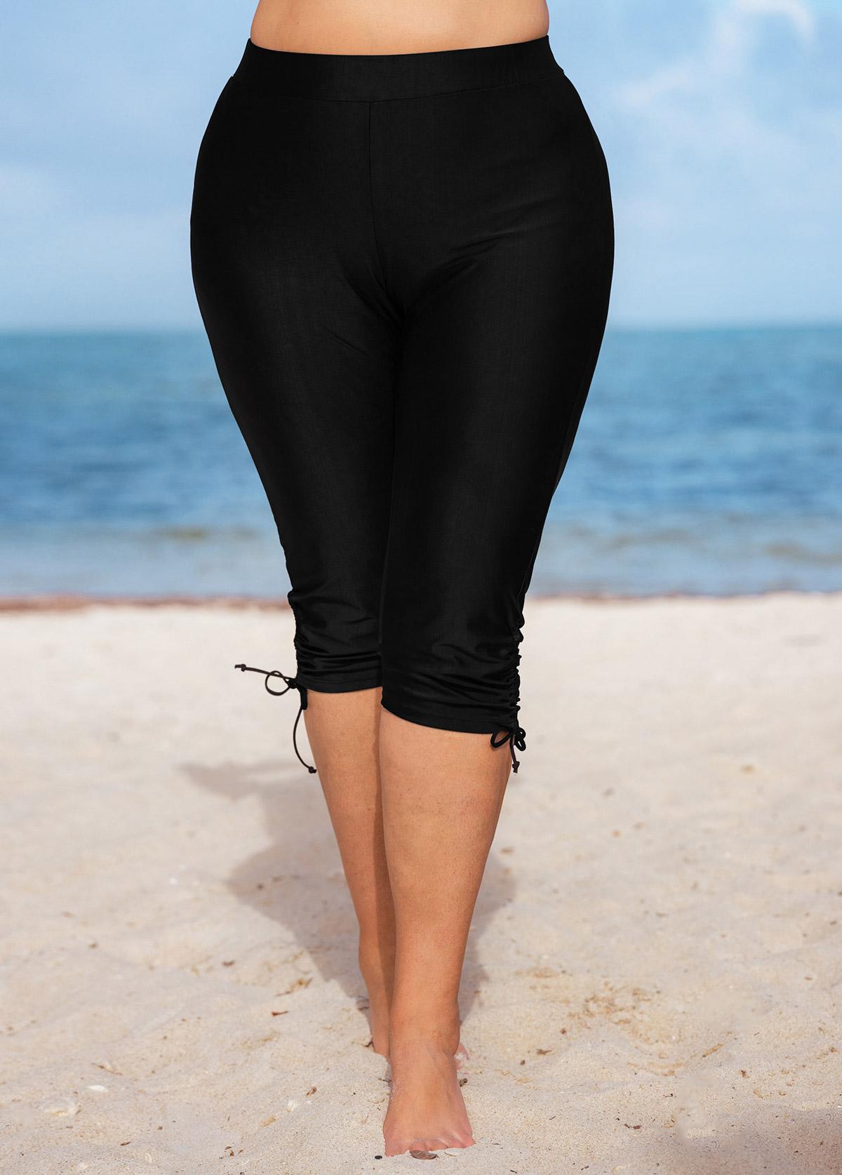 ROTITA Plus Size Drawstring Detail Solid High Waisted Swim Shorts