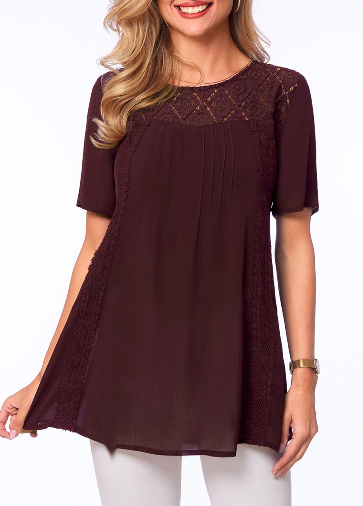 ROTITA Round Neck Lace Stitching Short Sleeve T Shirt