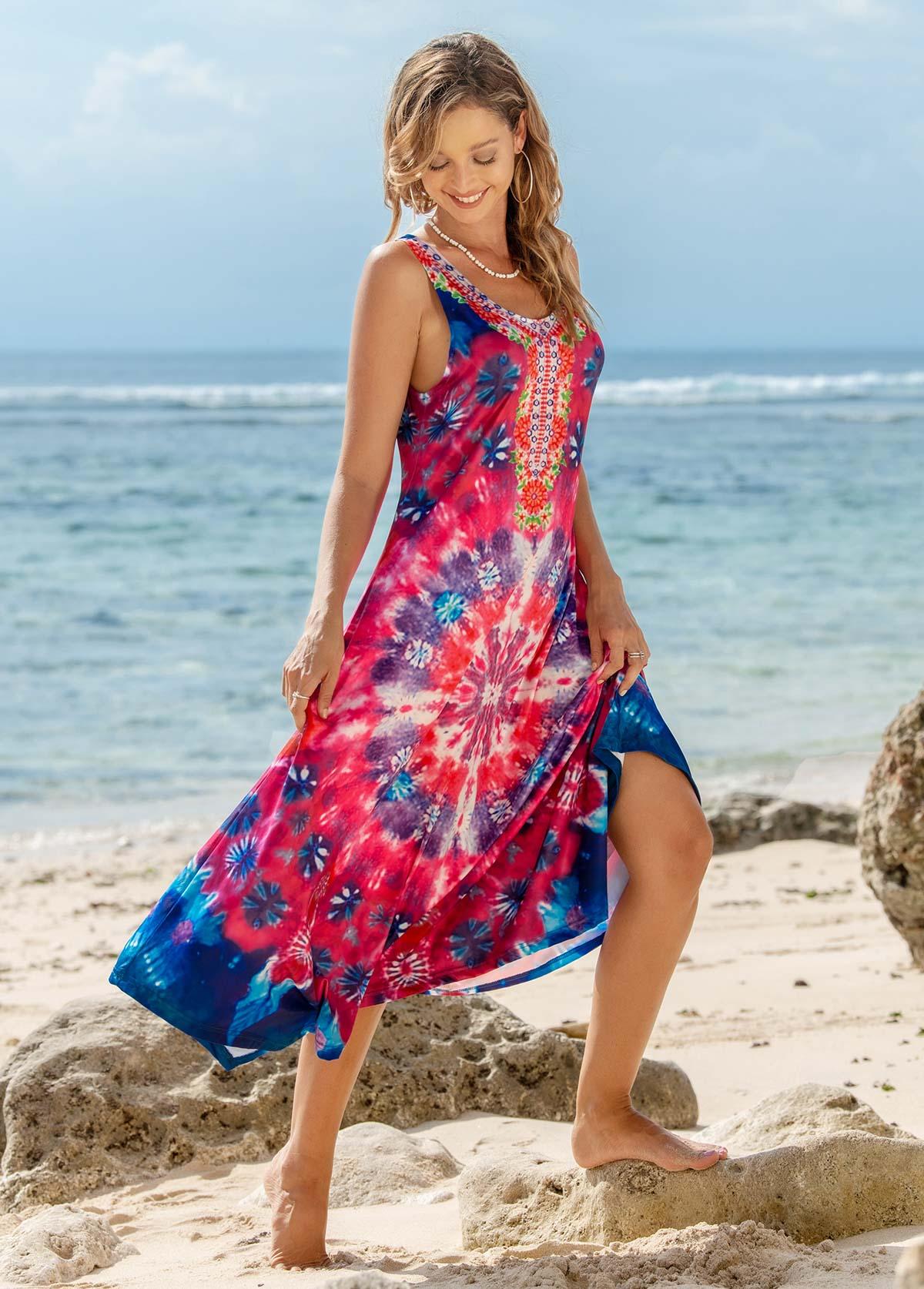 Round Neck Printed Sleeveless Dress