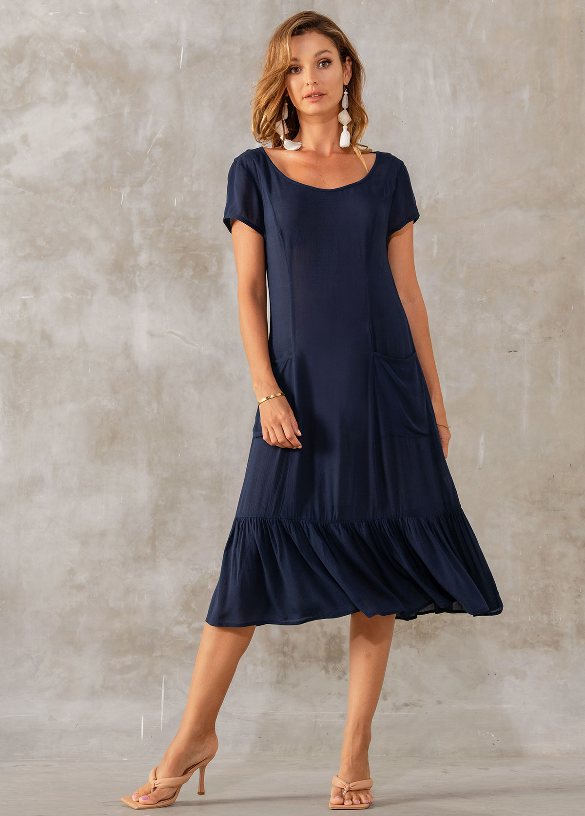 ROTITA Pocket Detail Round Neck Short Sleeve Dress