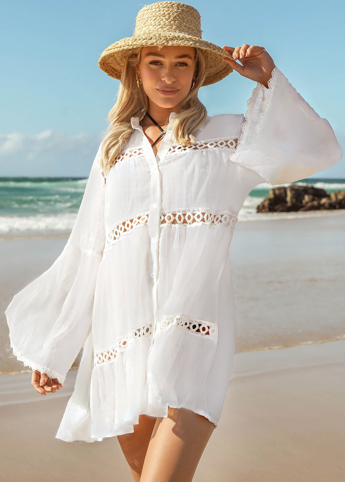 Long Sleeve Pierced Lace Stitching Cover Up