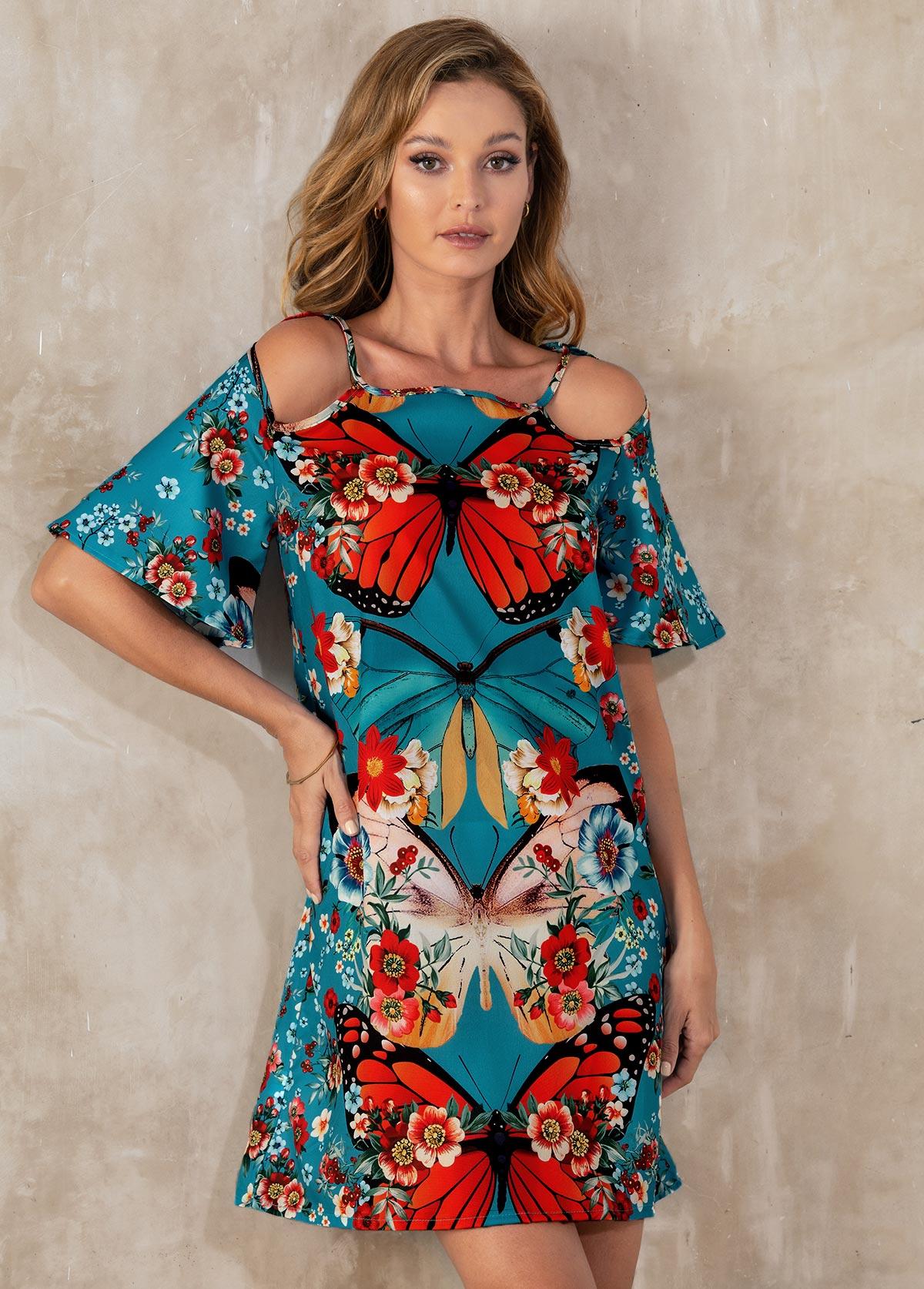 Cold Shoulder Floral Print Short Sleeve Dress