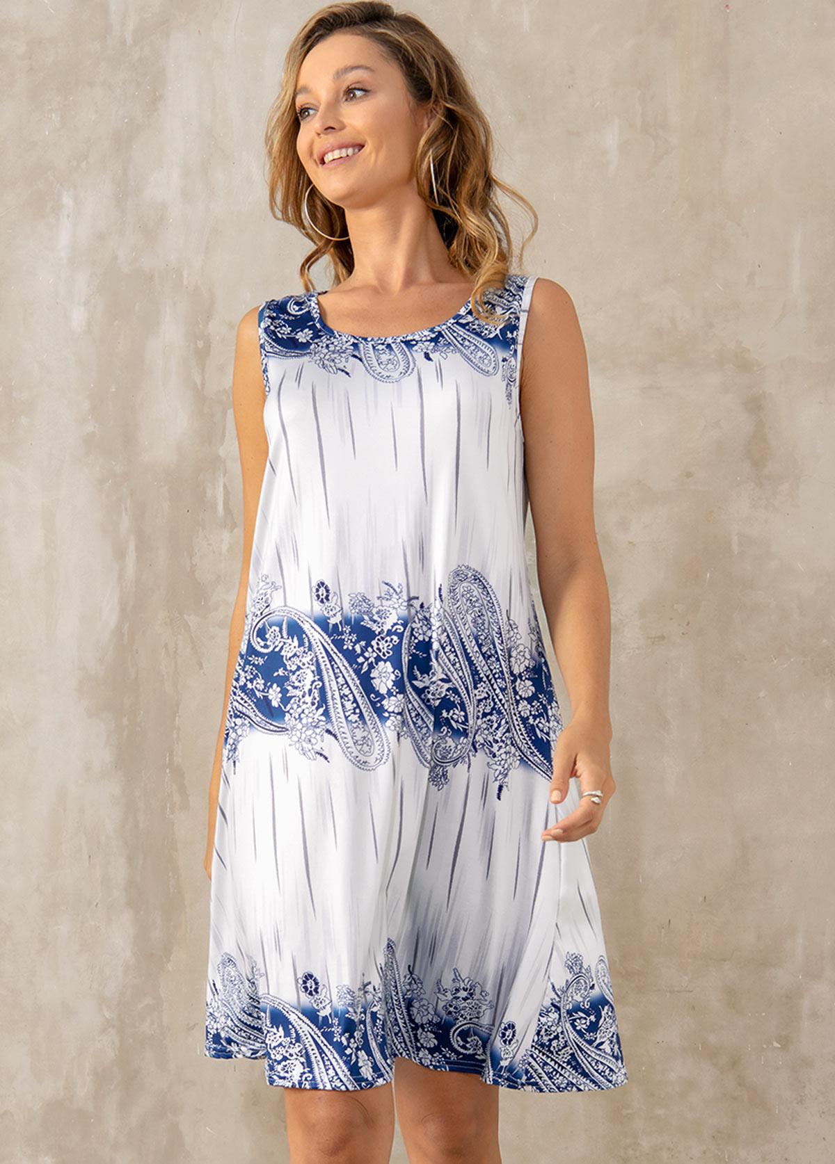 Round Neck Paisley Print Sleeveless Dress
