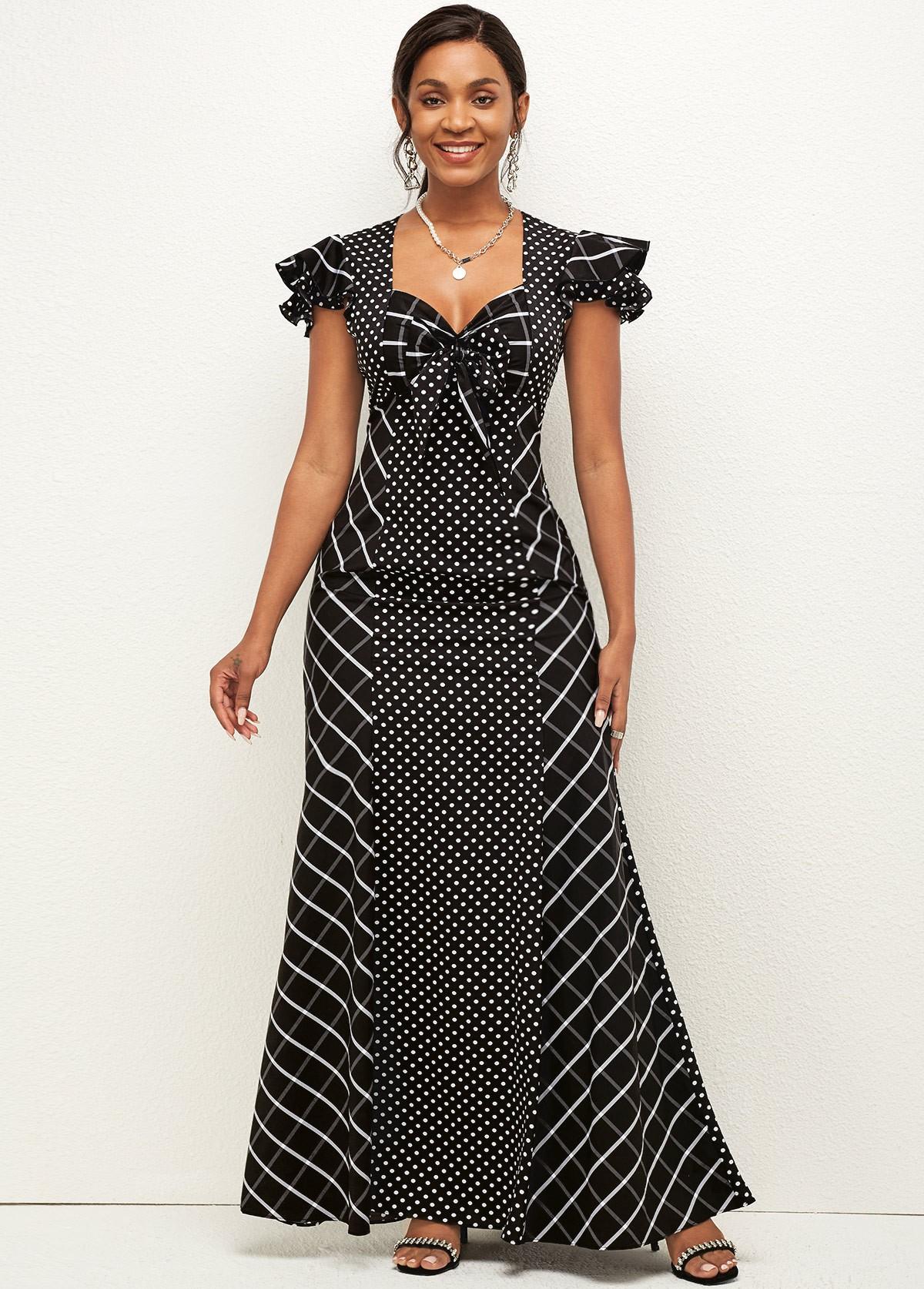 ROTITA Bowknot Polka Dot Sweetheart Neckline Dress