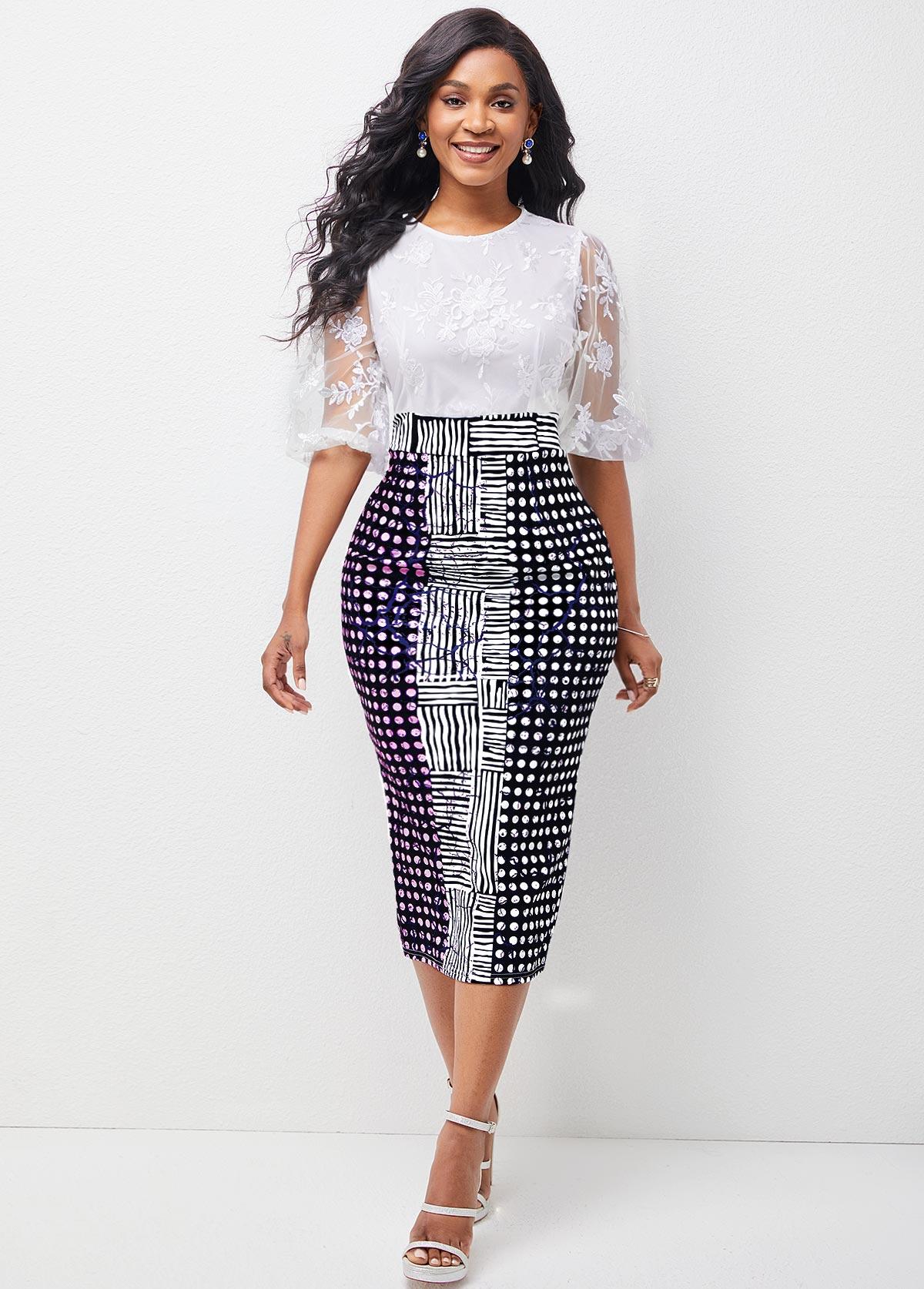 ROTITA Lace Stitching Geometric Print 3/4 Sleeve Dress
