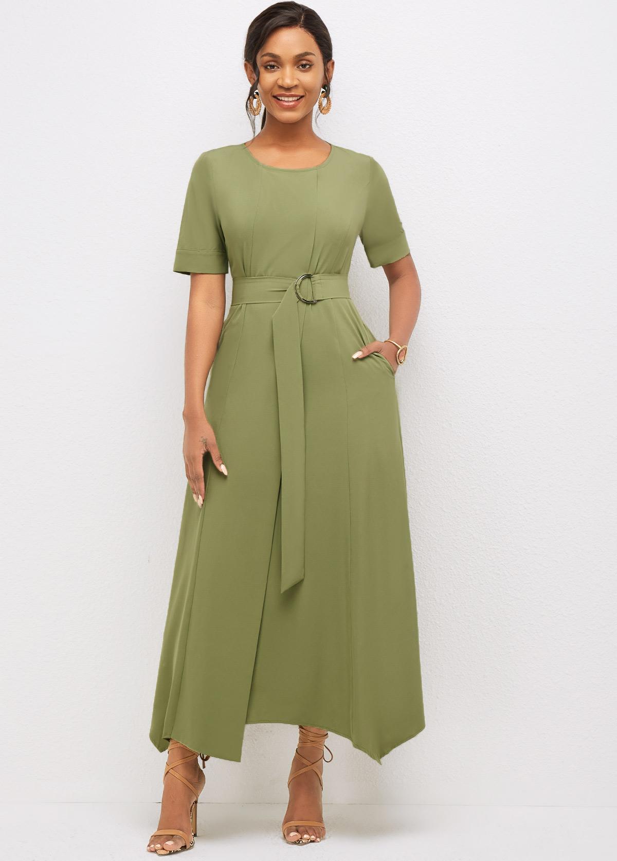 ROTITA Asymmetric Hem Round Neck Solid Dress