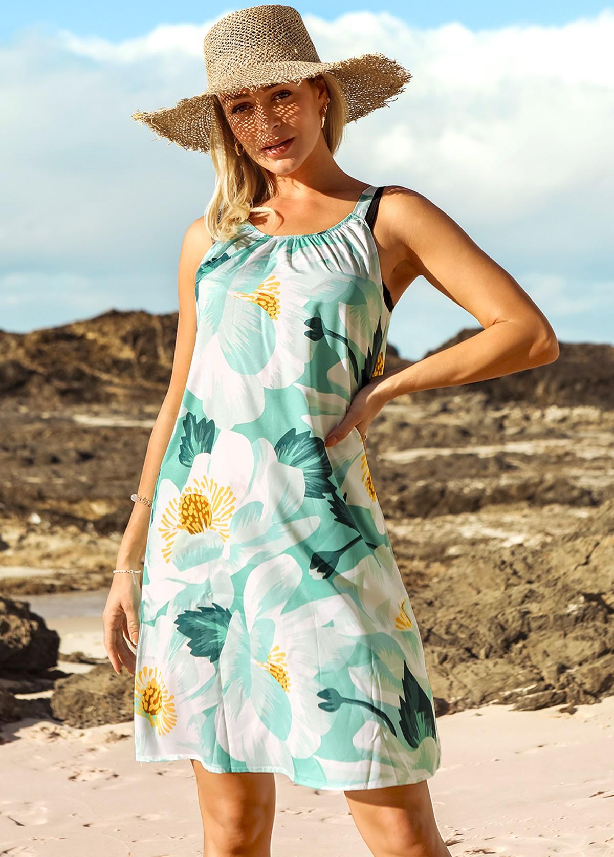 Floral Print Wide Strap Shirred Beach Dress