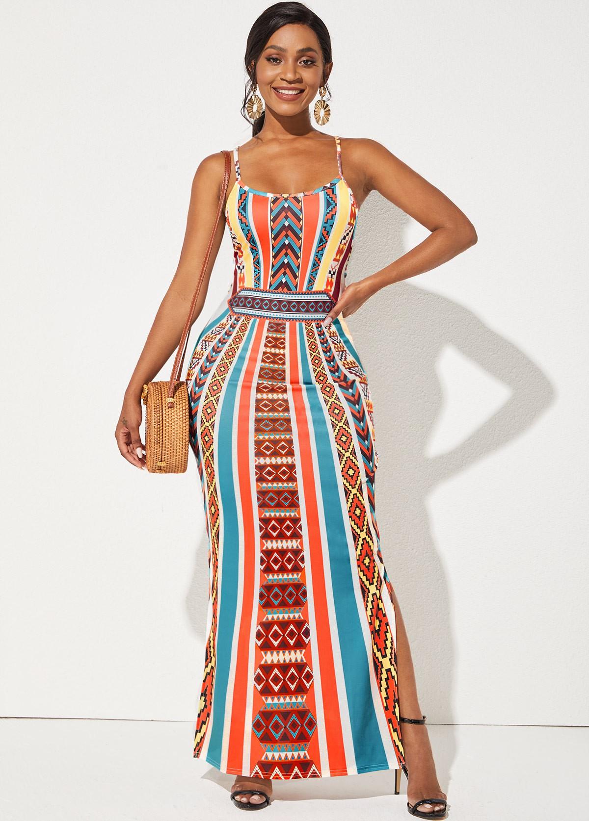 Geometric Print Spaghetti Strap Side Slit Dress