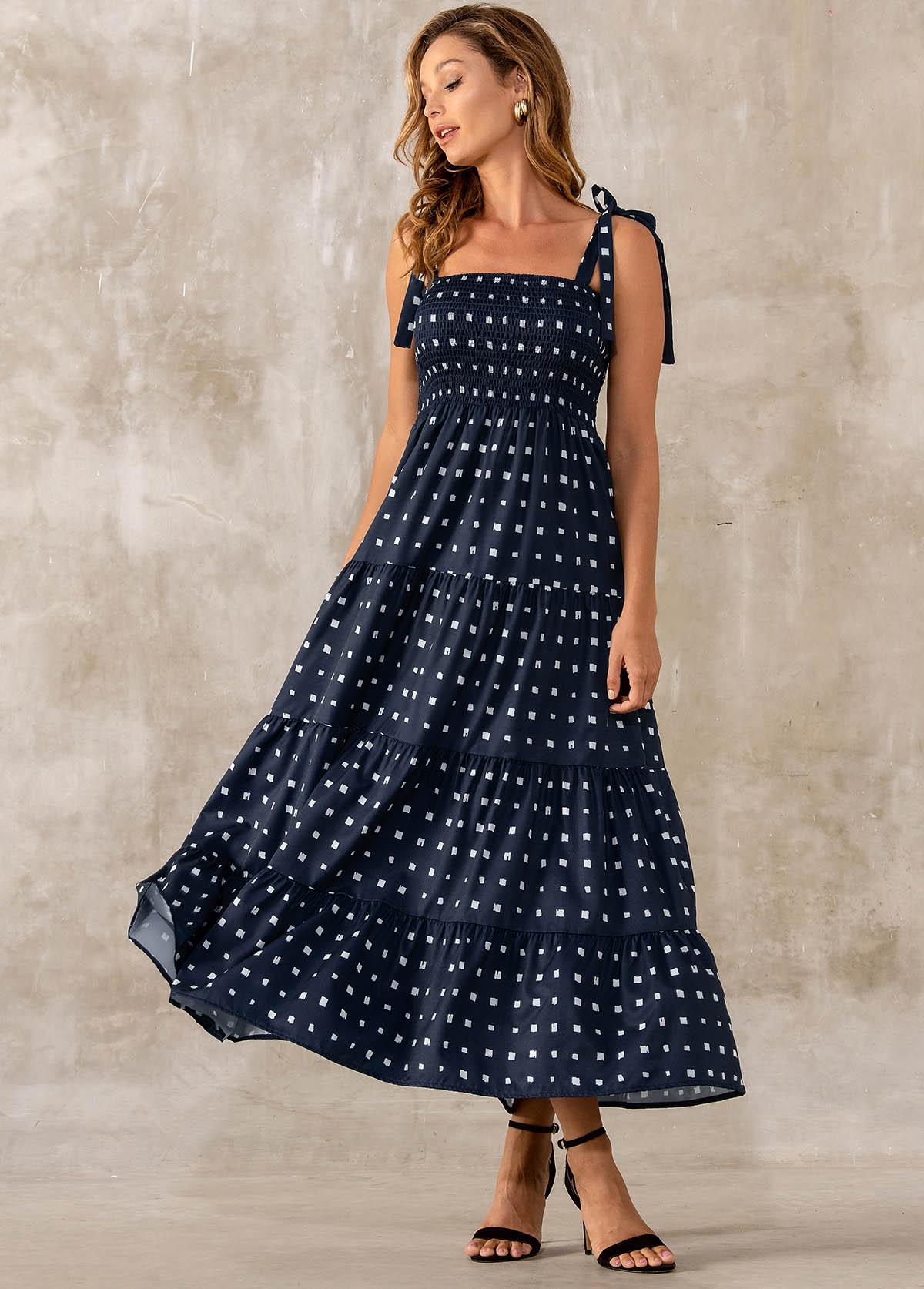 Smocked Tie Strap Geometric Print Dress