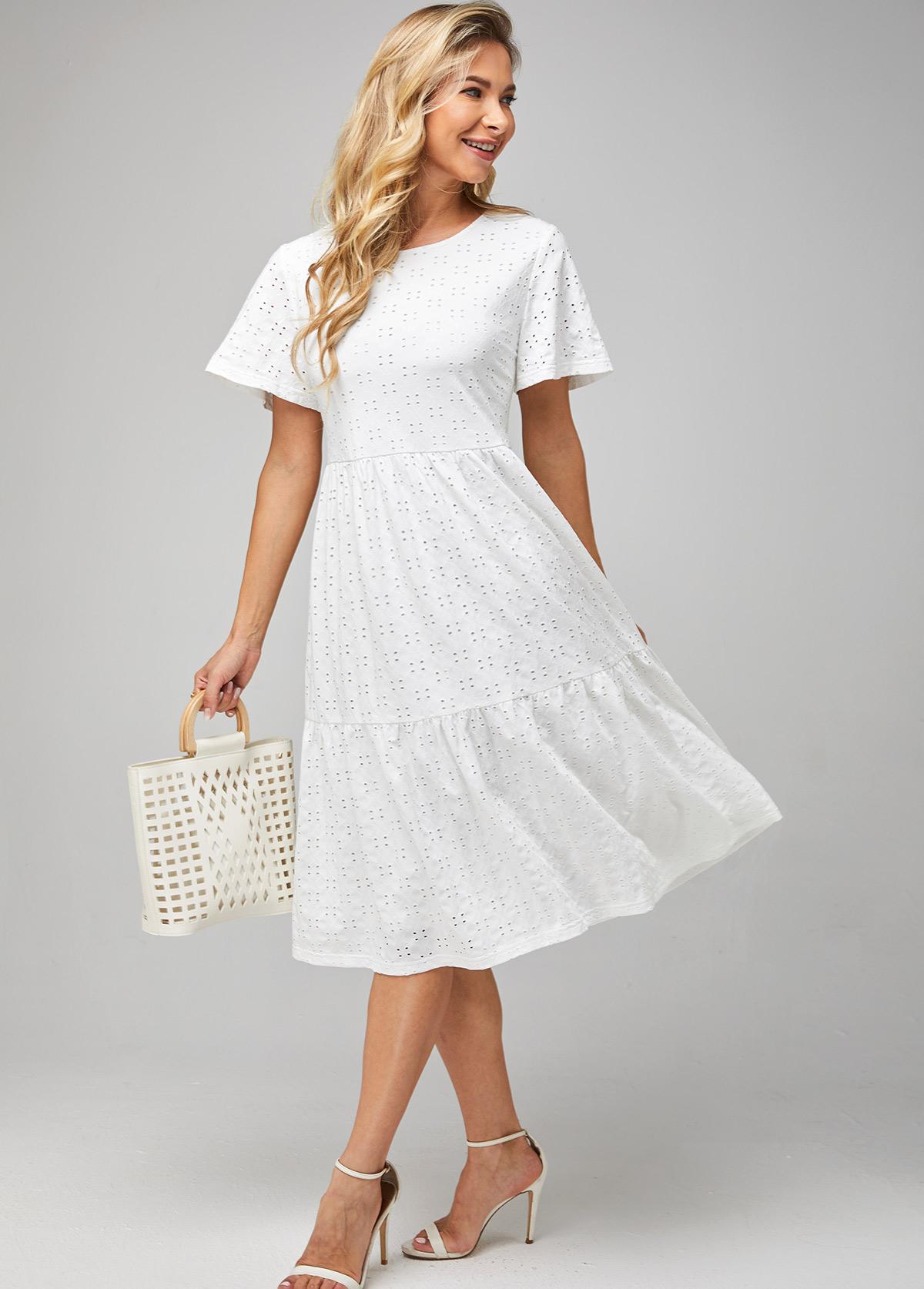 ROTITA Solid Round Neck Short Sleeve Dress
