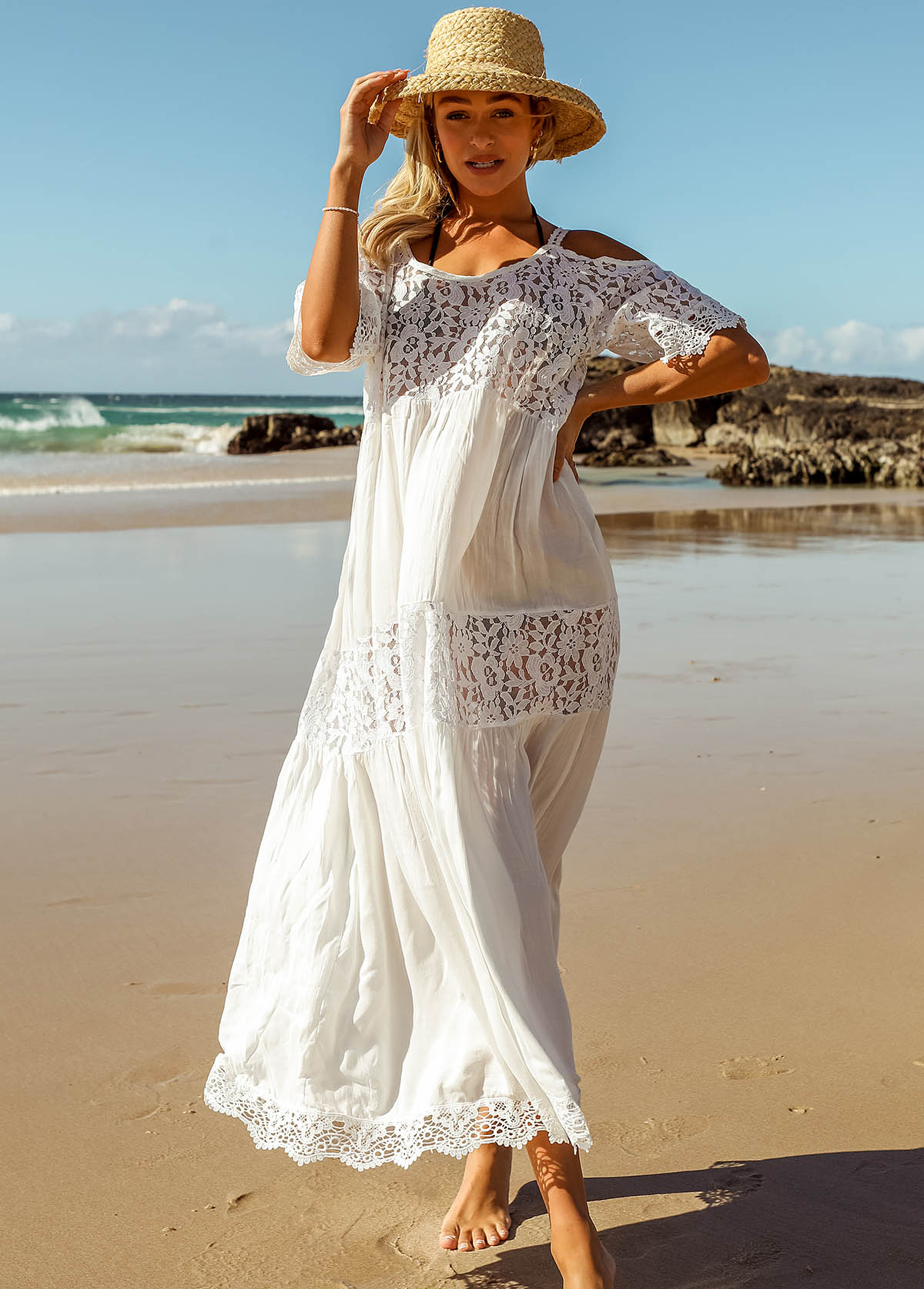 Solid Lace Stitching Cold Shoulder Beach Dress