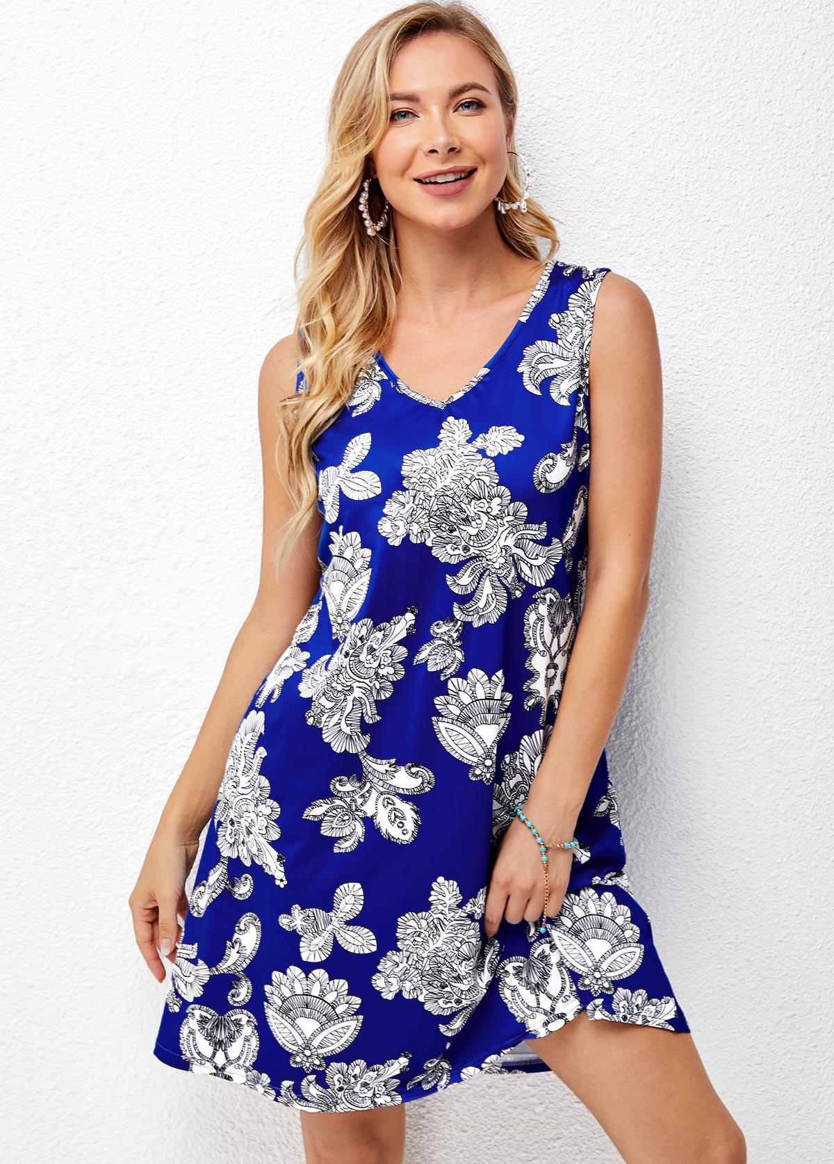 V Neck Printed Blue Sleeveless Dress