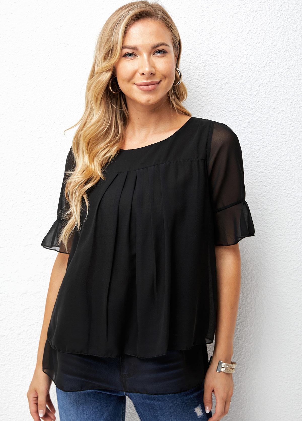 Short Sleeve Chiffon Round Neck T Shirt