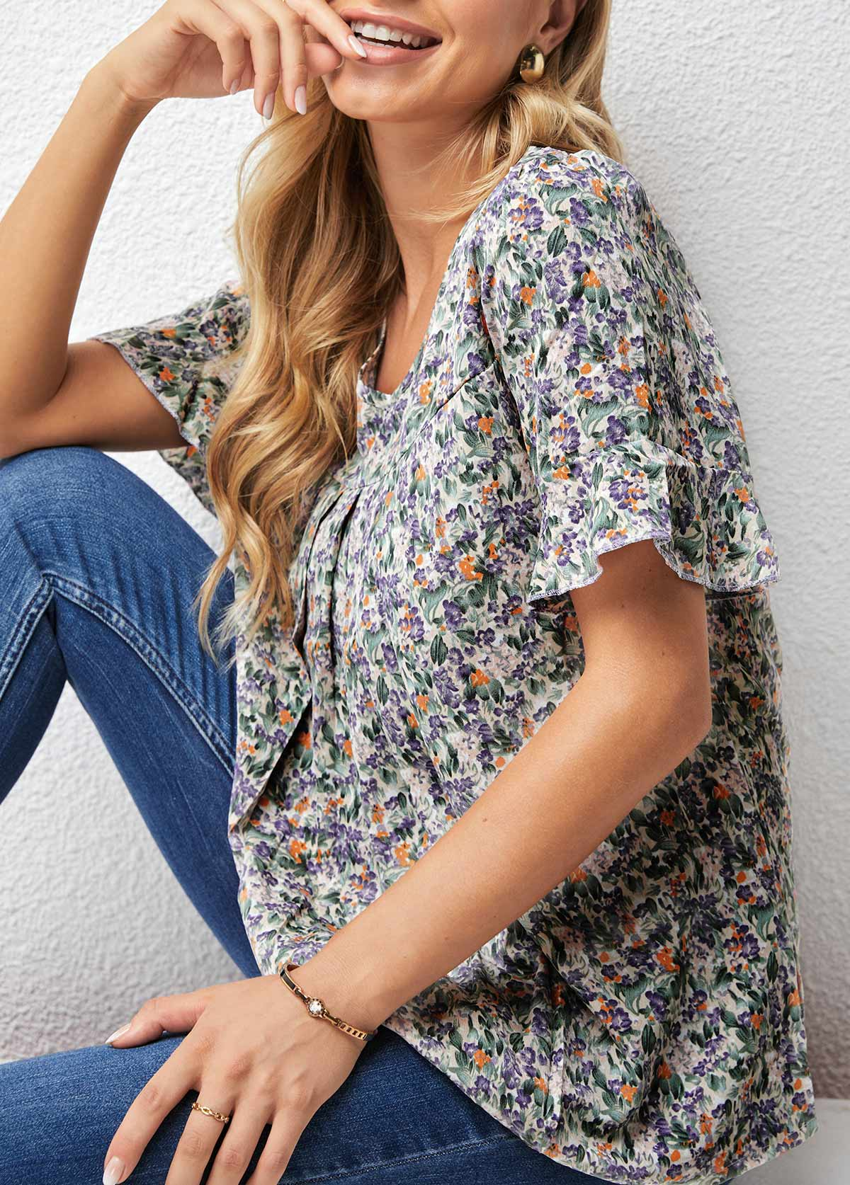 V Neck Floral Print Flare Sleeve T Shirt