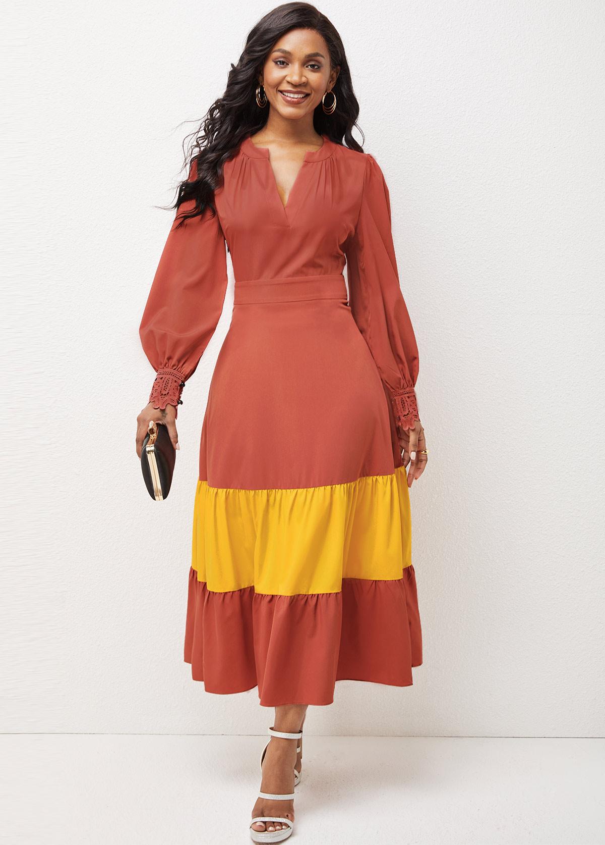 ROTITA Lantern Sleeve Contrast Split Neck Dress