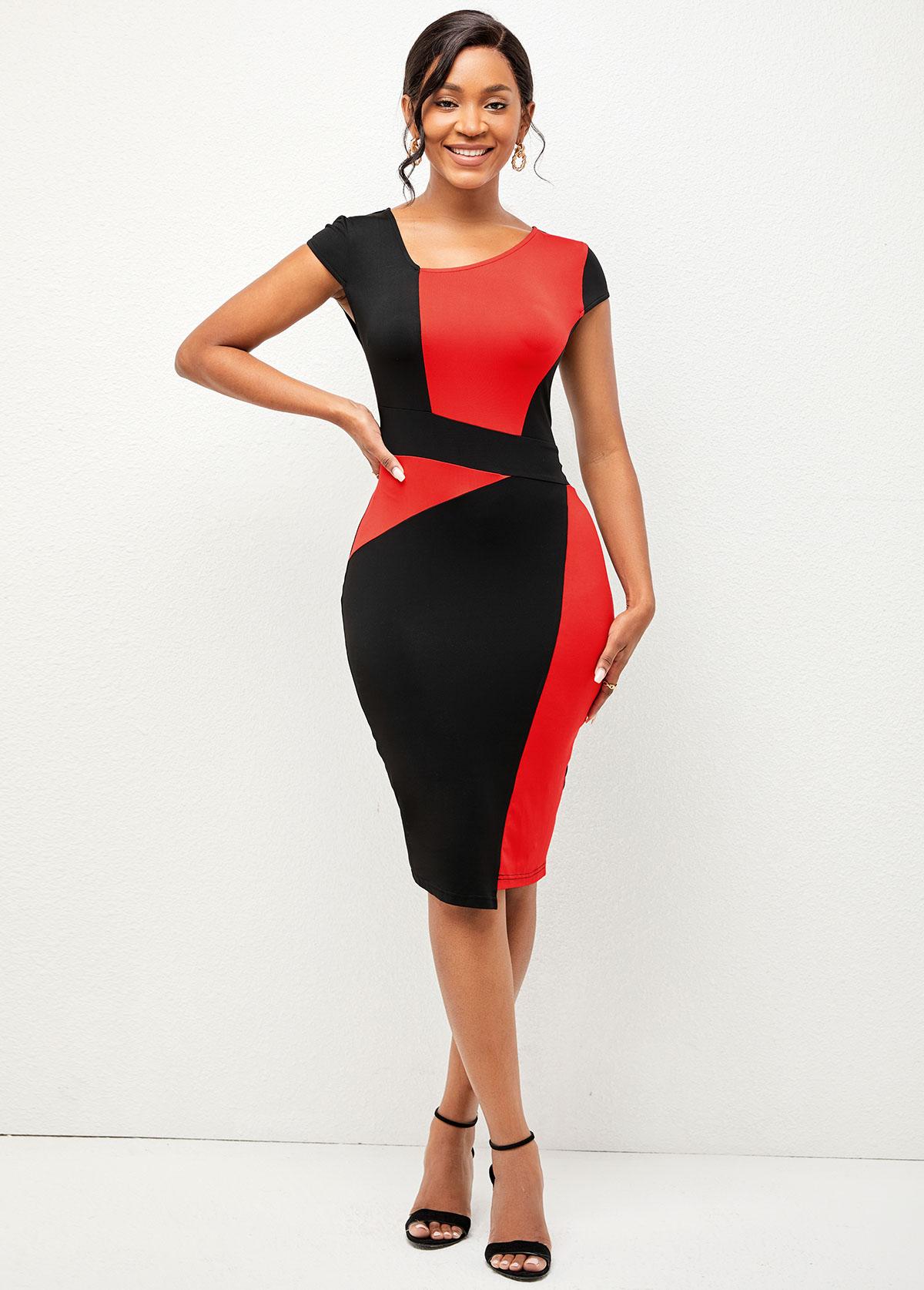 ROTITA V Neck Contrast Short Sleeve Dress