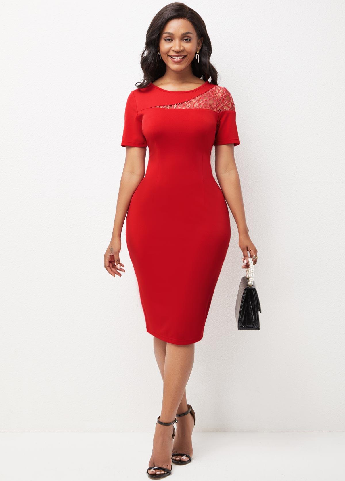 ROTITA Lace Patchwork Round Neck Short Sleeve Dress