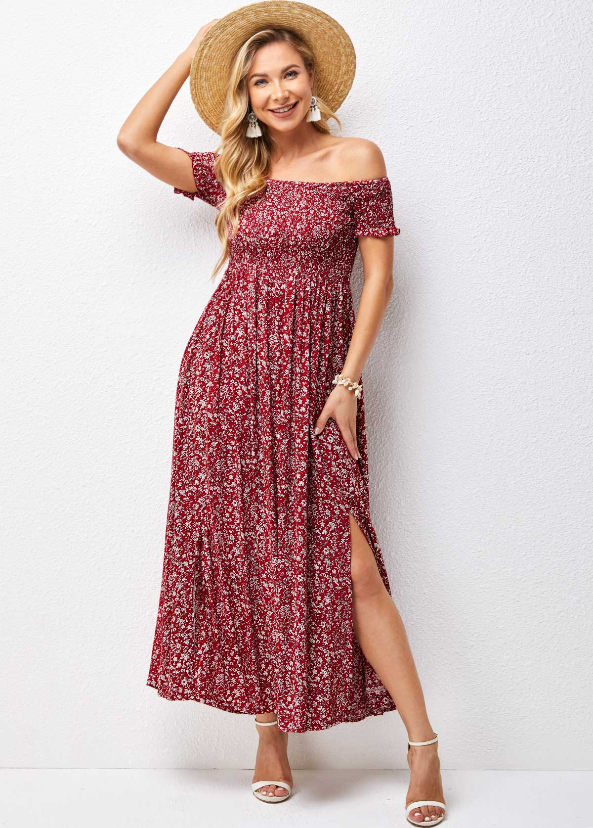 Smocked Off Shoulder Floral Print Dress