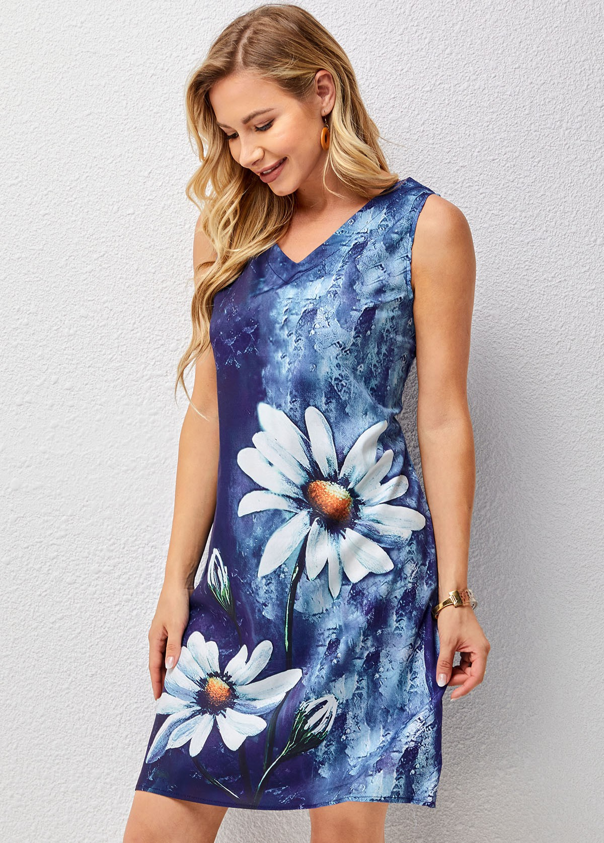 Floral Print V Neck Sleeveless Dress