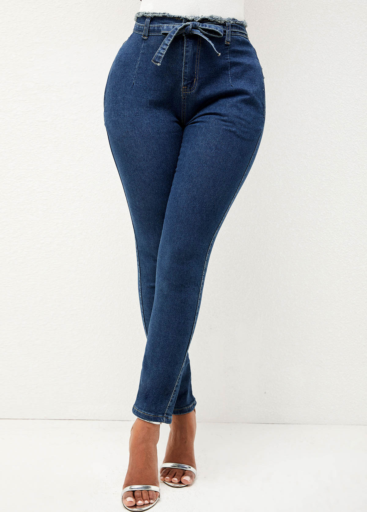 Double Pocket Solid High Waisted Jeans