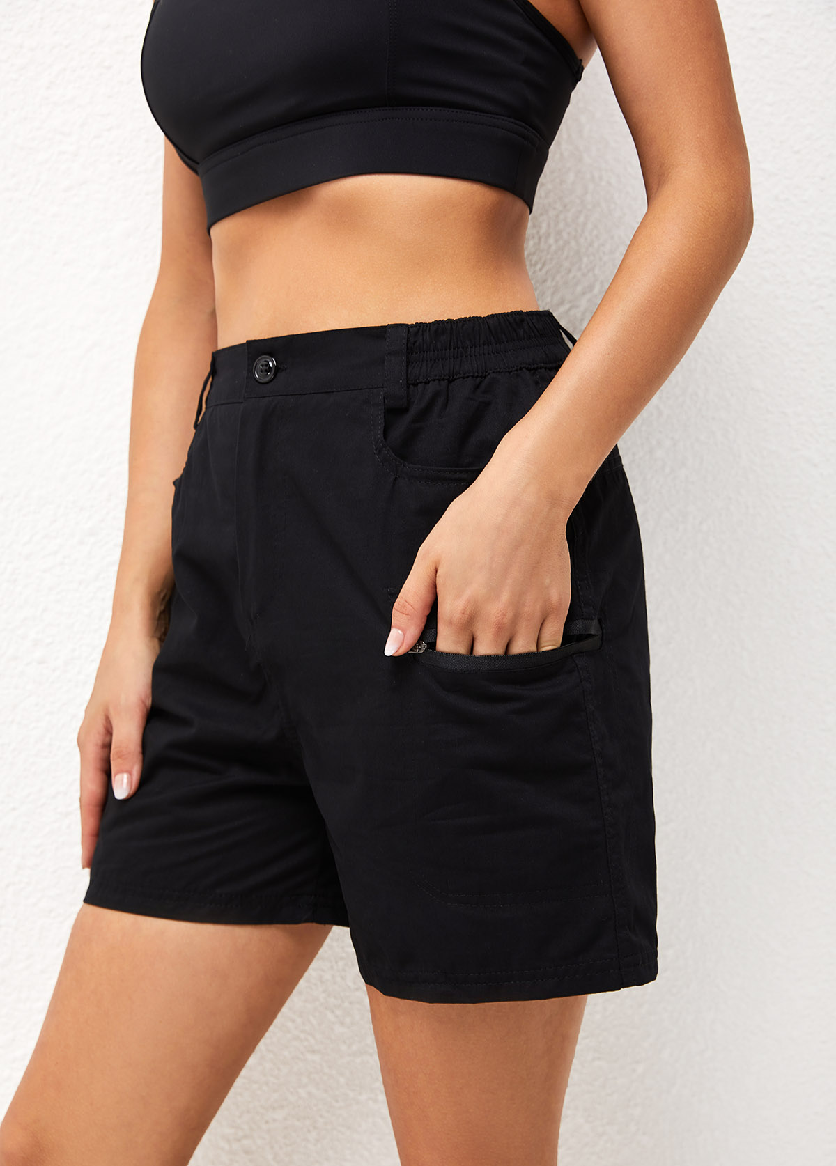 Solid High Waist Pocket Detail Shorts