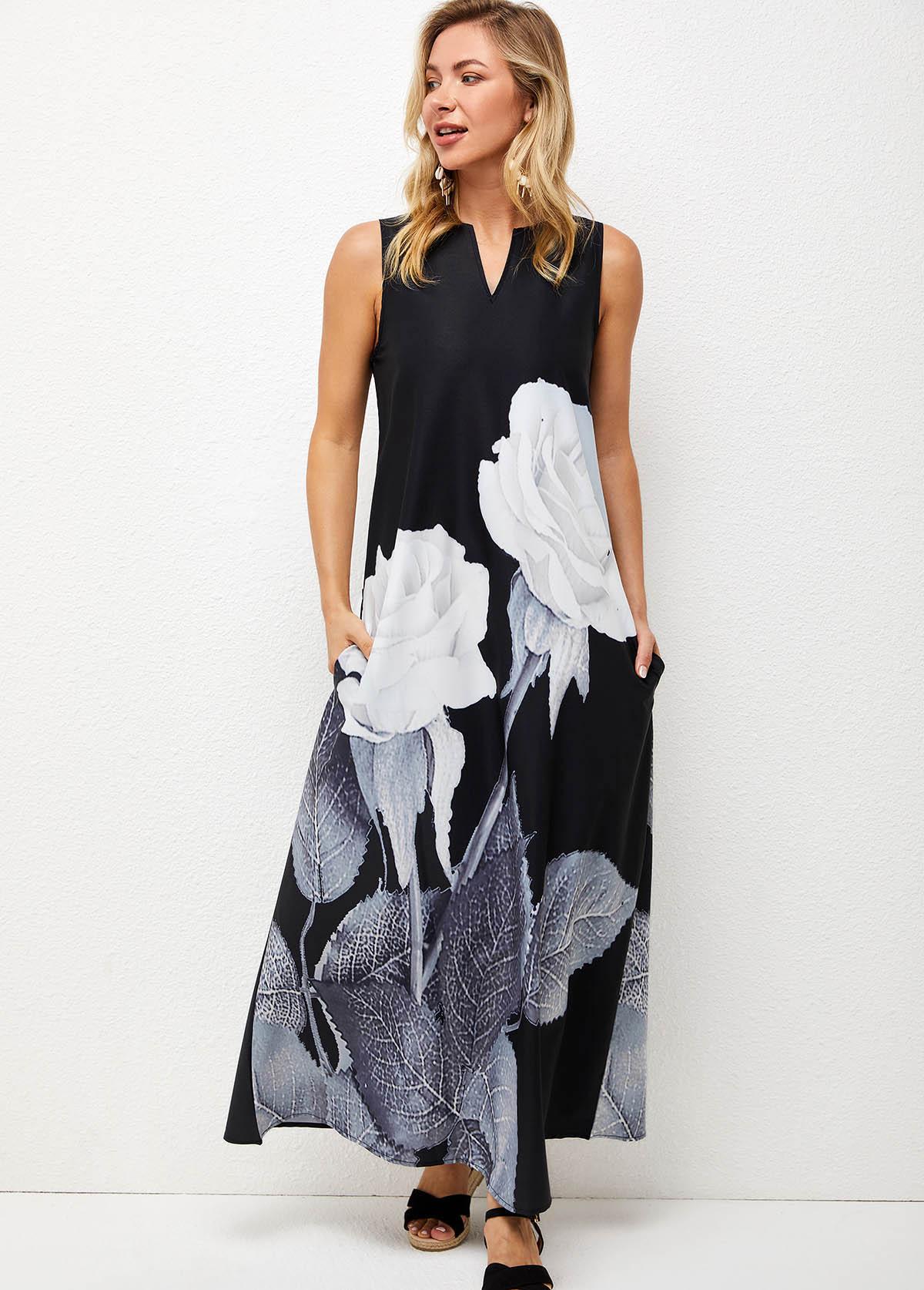 Split Neck Floral Print Double Pocket Dress