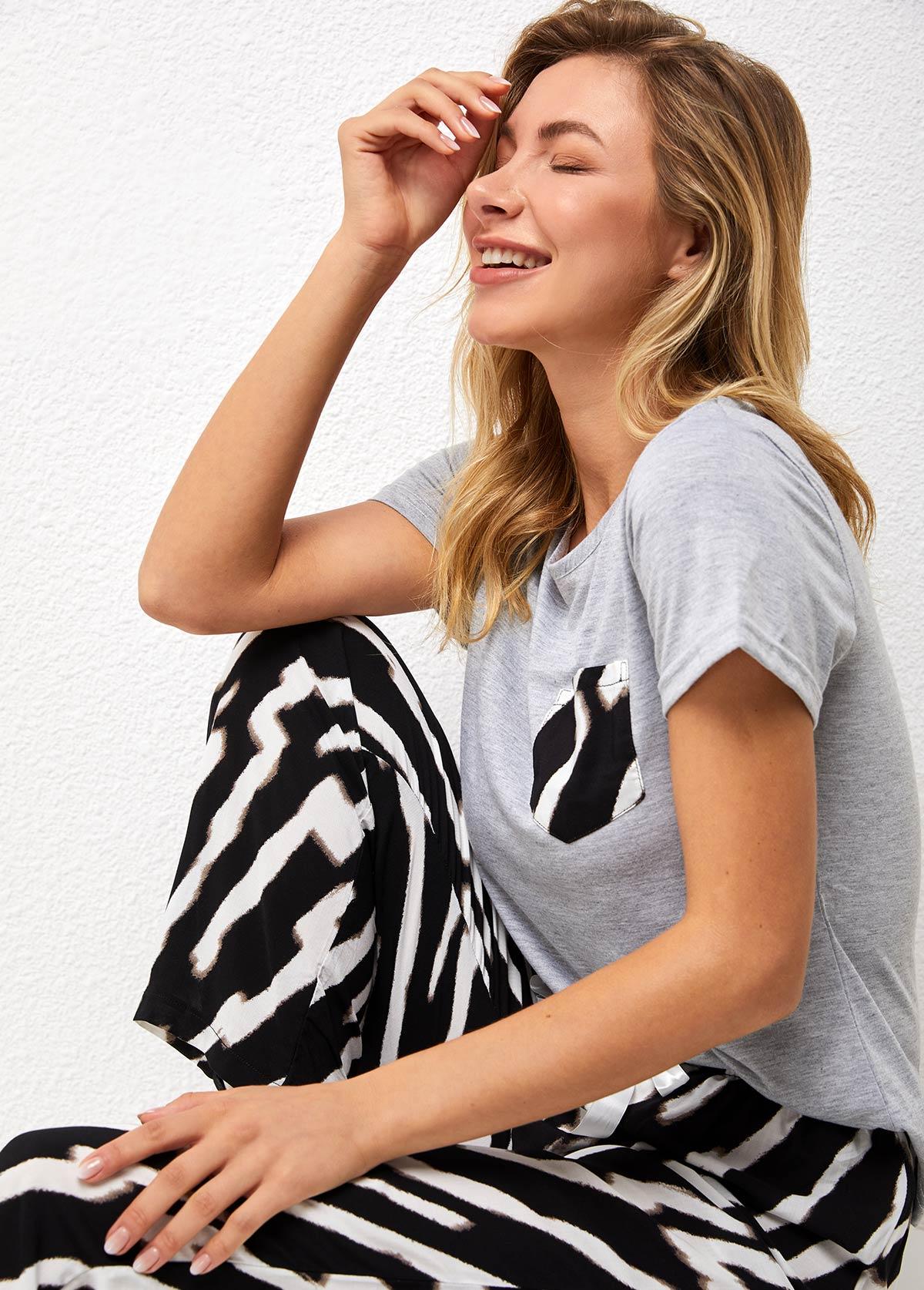 Short Sleeve Zebra Print Round Neck Loungewear Set
