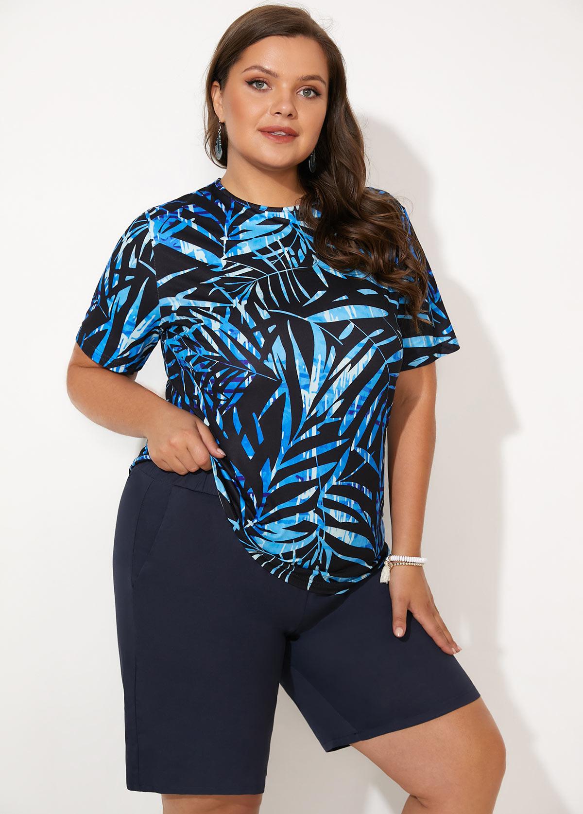 Leaf Print Plus Size Short Sleeve Tankini Set