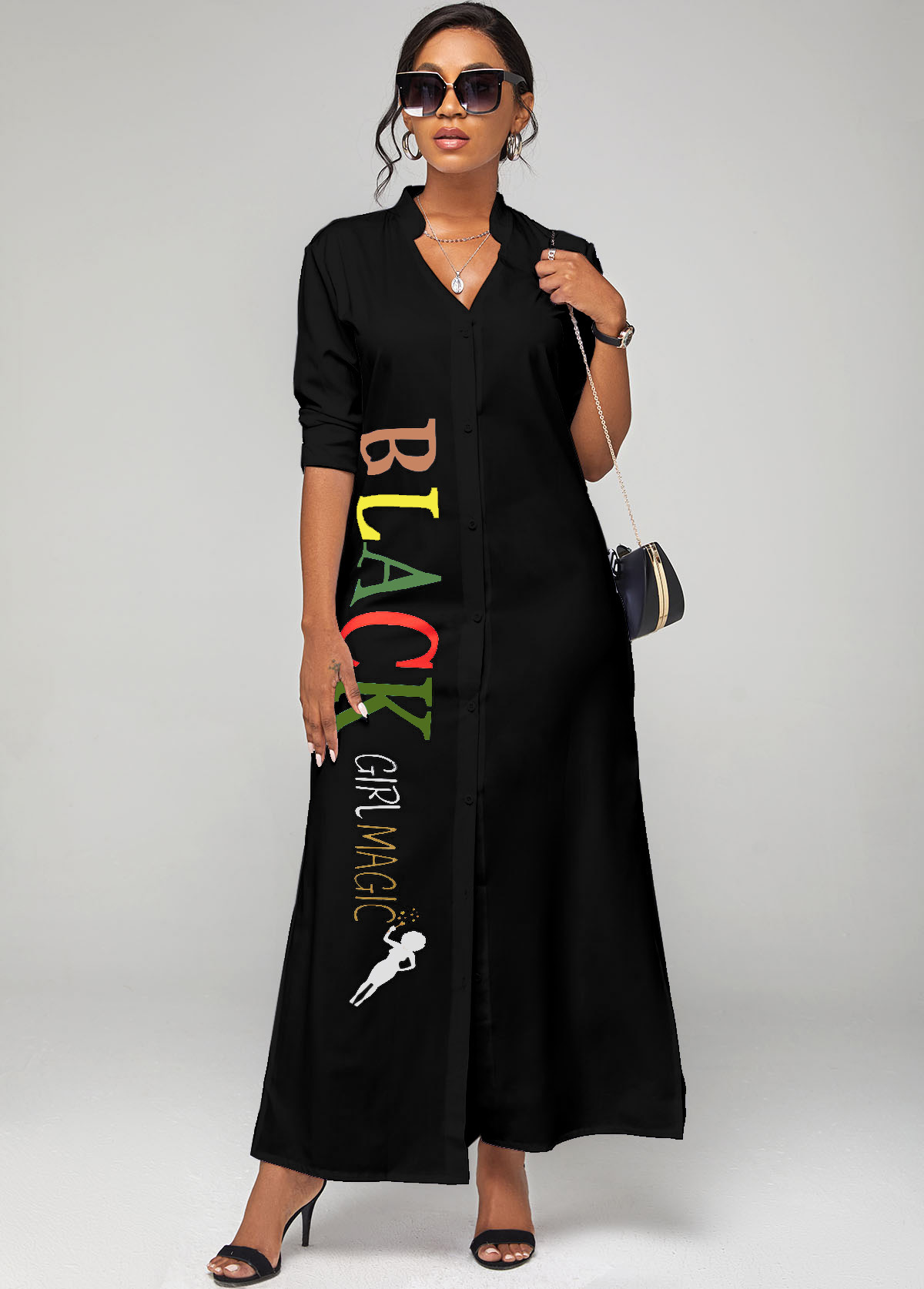 ROTITA Letter Print Split Neck Button Up Dress