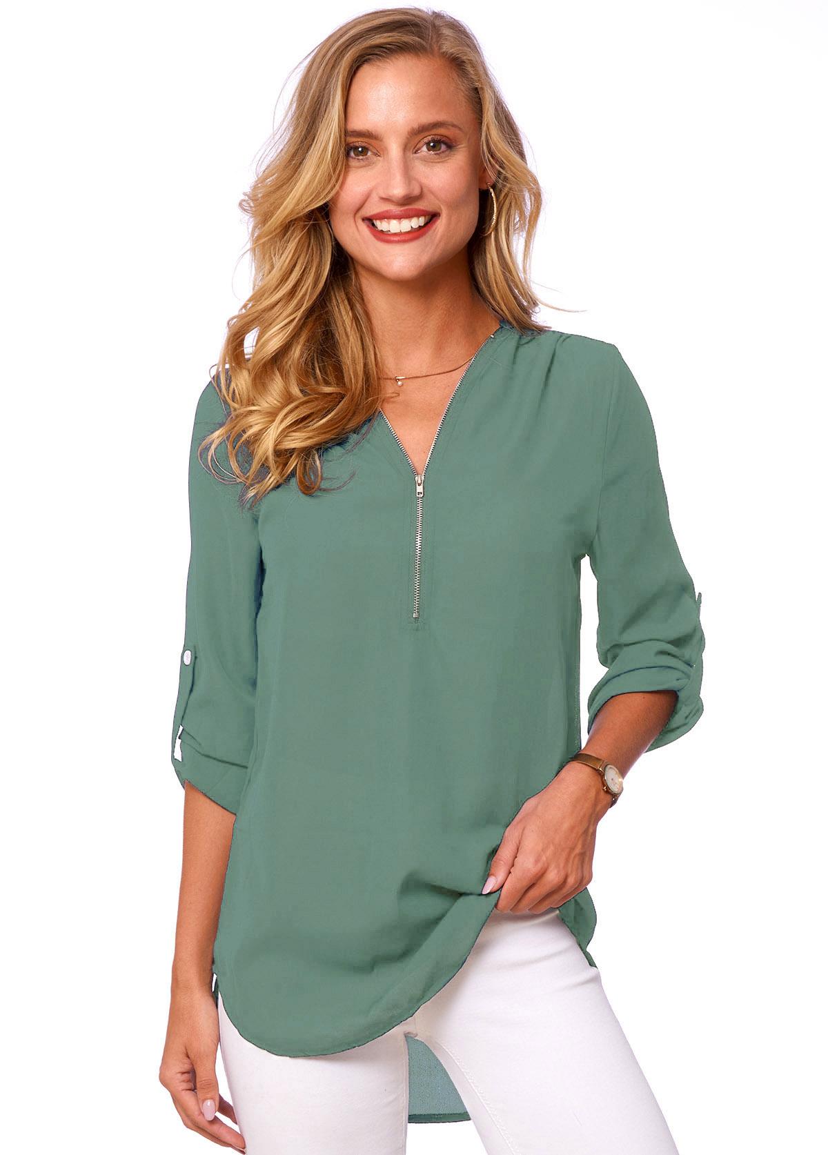 ROTITA Quarter Zip Button Detail Solid T Shirt