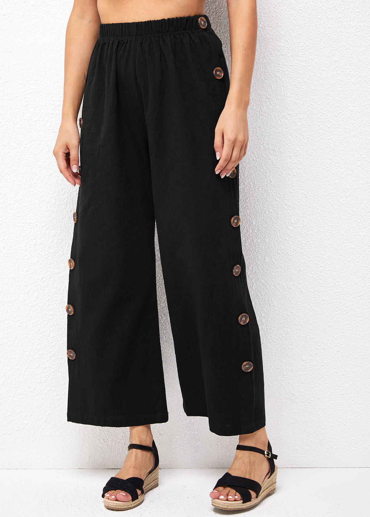 High Waist Solid Side Button Pants