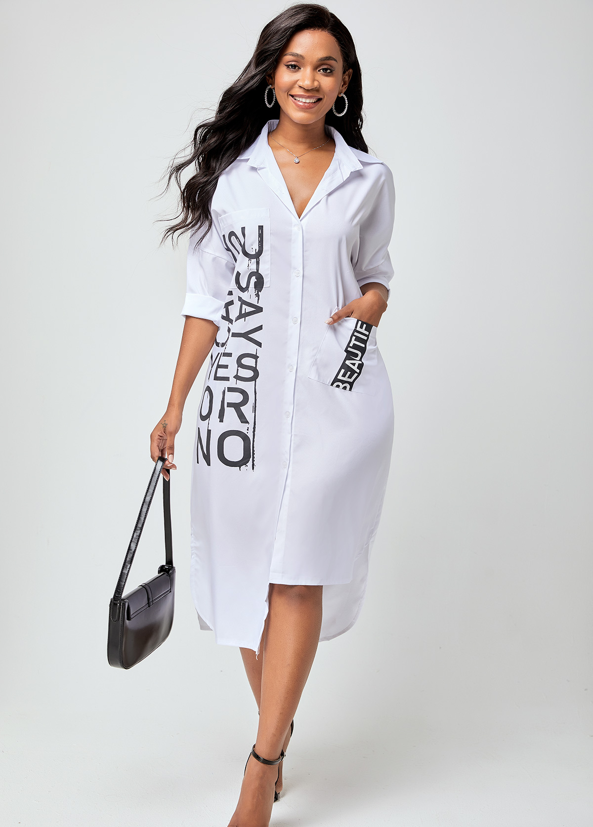 Letter Print Notch Collar Pocket Dress