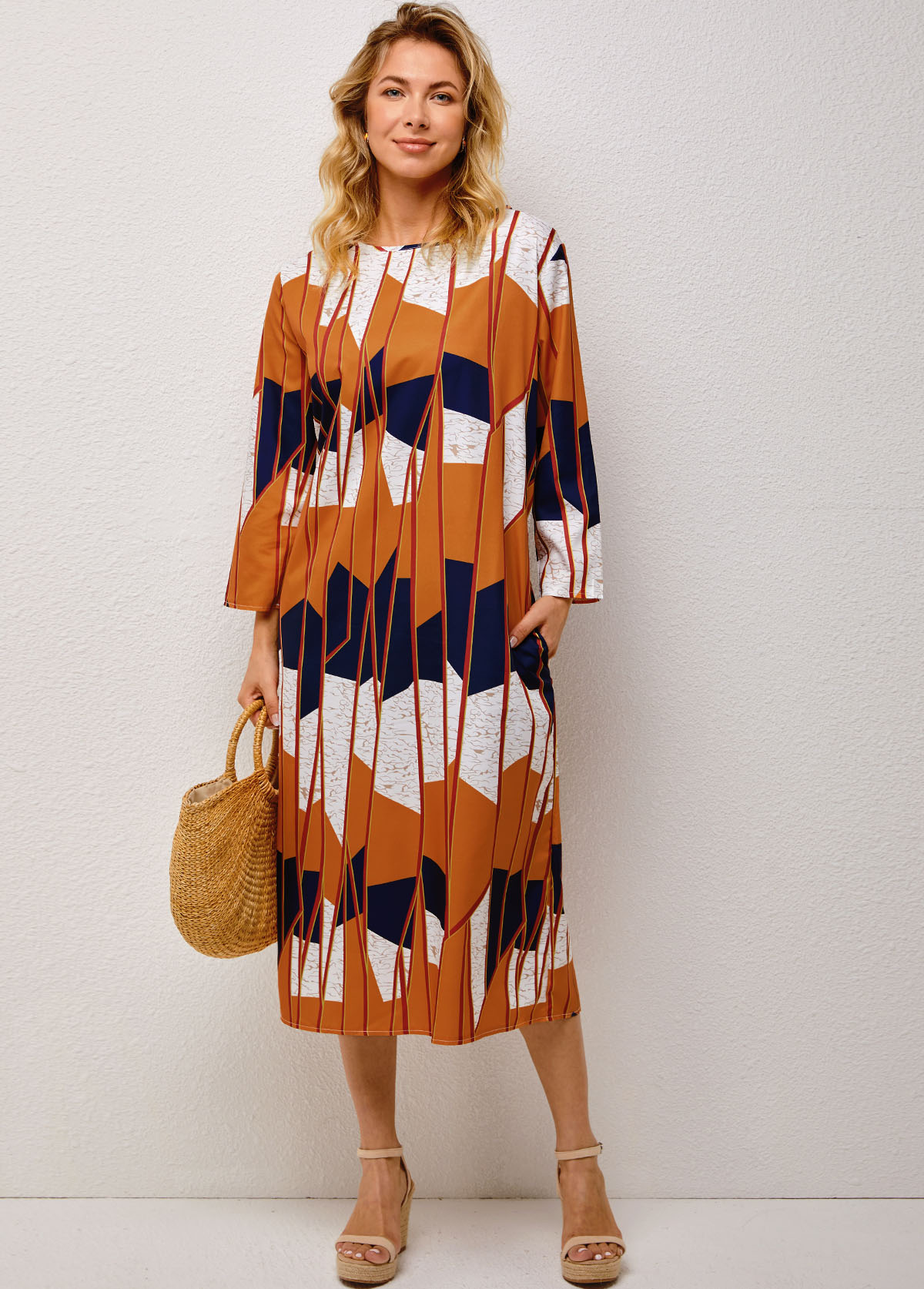 Double Side Pockets Geometric Print Round Neck Dress