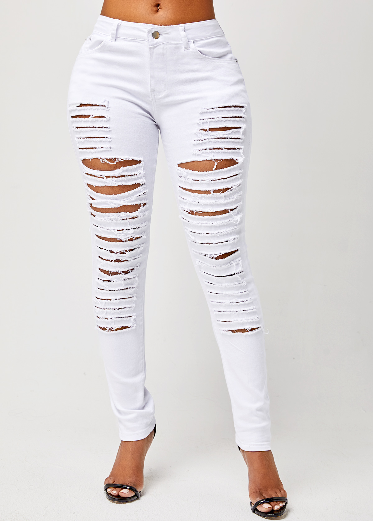 Solid Shredded Skinny Mid Waist Jeans